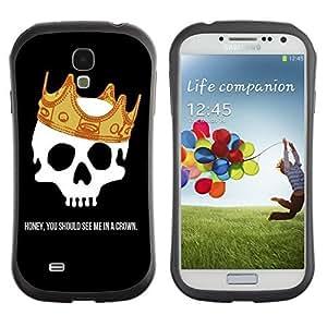 Hybrid Anti-Shock Bumper Case for Samsung Galaxy S4 / Skull & Crown Message wangjiang maoyi