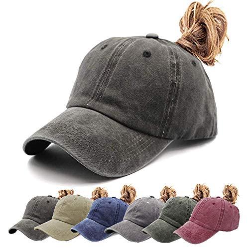 Womens Ponytail Hat Vintage Washed Messy High Buns Ponycaps Baseball Trucker Cotton Adjustable (D1-Black(High Ponytail))