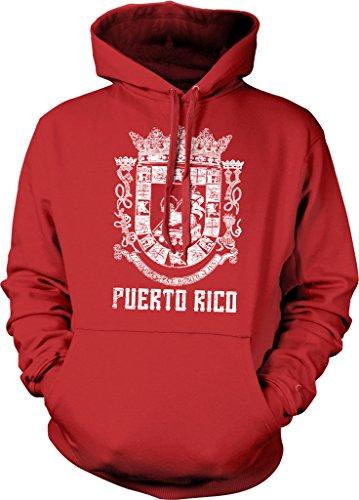 Puerto Rico, Coat of Arms, Spanish Crown, Lamb of God, St. John Hooded Sweatshirt, NOFO Clothing Co. XXL Red