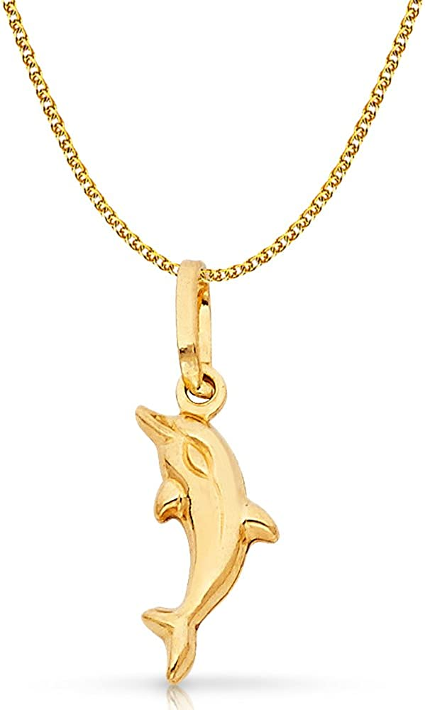 14K Yellow Gold Jumping Dolphin Prosperity Charm Pendant with 1.2mm Flat Open Wheat Chain Necklace