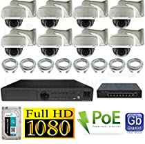 USG HD IP PoE CCTV Kit: 8x 1080P IP PoE 2.8-12mm Dome Cameras + 1x 24 Channel 1080P NVR + 1x 9 Ports PoE Switch + 1x 3TB HDD + 8x Ethernet Cables *** High Definition Video Surveillance For Your Home or Business
