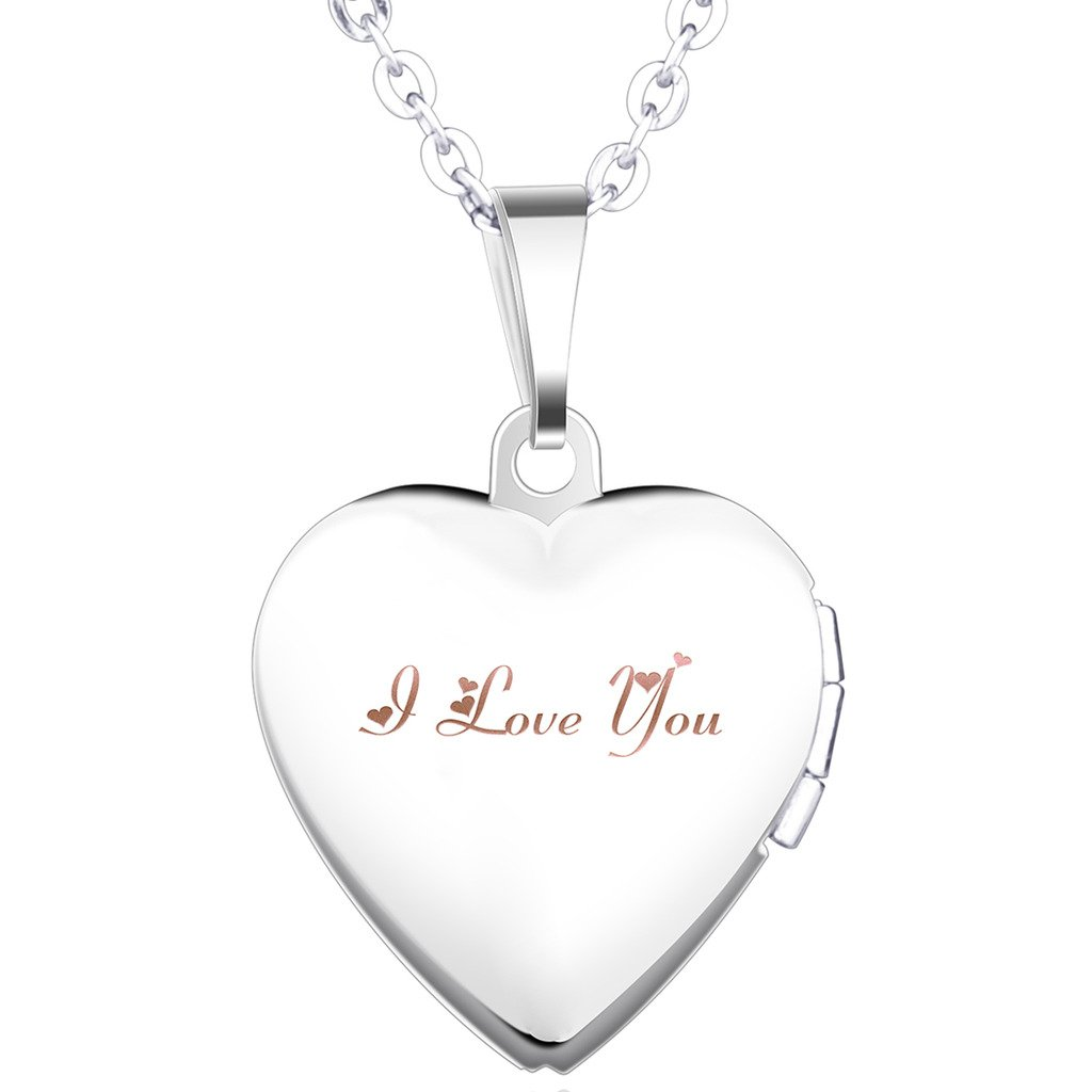 Infinite U Laser Engraving I Love You Open Heart Photo Locket Stainless Steel Pendant Necklace for Girls/Women (Enable to Engrave Your Own Words) Infinite Jewelry B2260-pink