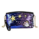 Women Glitter Sequins Crossbody Clutch Wristlet Envelope Handbag Shoulder Bag