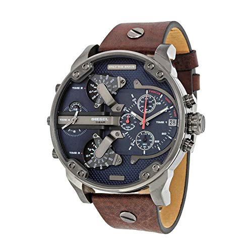 Watch Chronograph Diesel (Diesel Men's Mr Daddy 2.0 Quartz Stainless Steel and Leather Chronograph Watch, Color: Grey, Brown (Model: DZ7314))