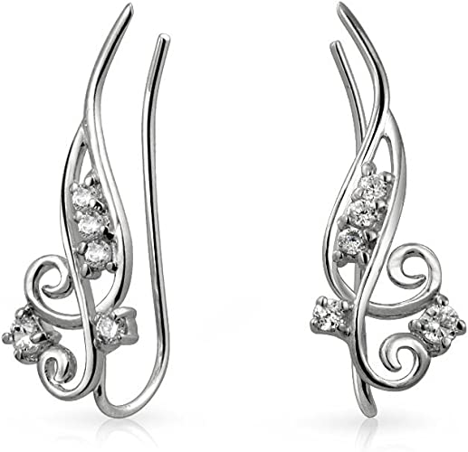 Sterling Silver Gold Curved Ear Crawlers Earrings .925 Trendy and Chic CZ,Stud