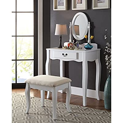 Carina 2-Piece Classic 1-drawer Vanity Table and Stool Set, White