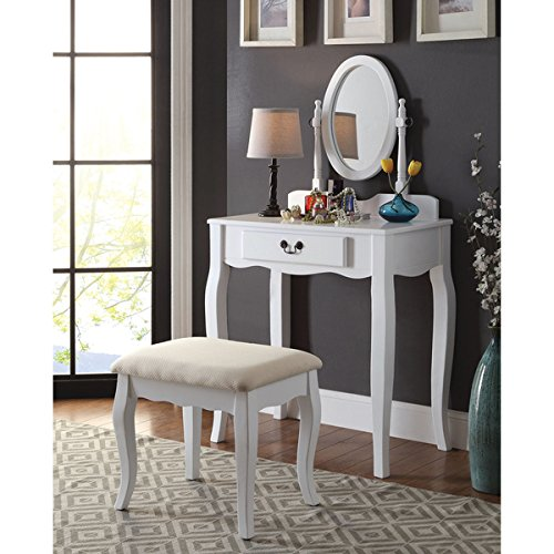 Carina 2-Piece Classic 1-drawer Vanity Table and Stool Set, White by Furniture of America