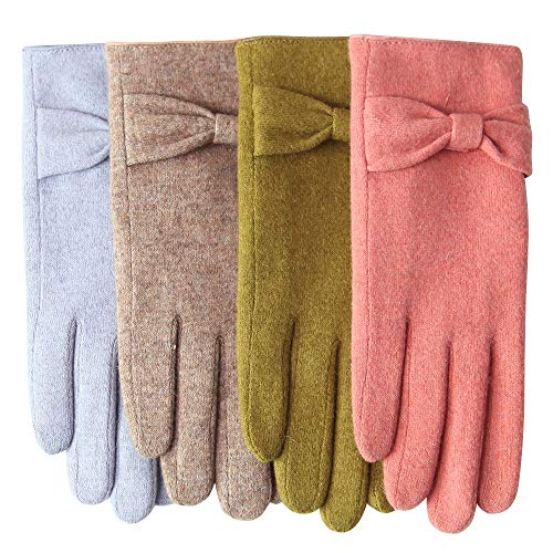 WARMEN WOOL FELTED GLOVES - Winter warm lined thick fleece lining touchscreen texting felt gloves (One size, Grey)