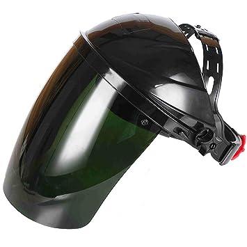 Casco De Seguridad para Casco De Soldador Casco De Protección Facial, Protector Facial, Lente De Policarbonato Montado En La Cabeza, Anti-Niebla/Capa Dura: ...