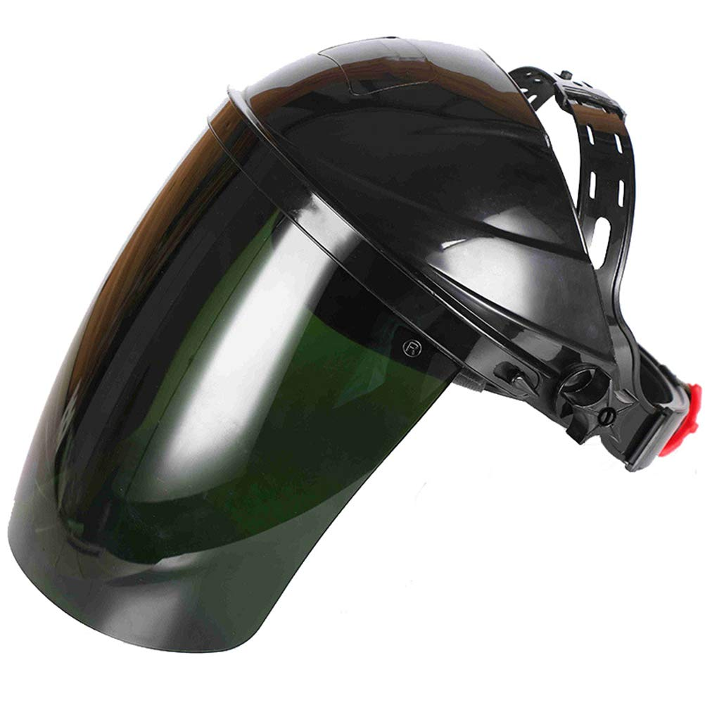 Head-Mounted Dark Green Polycarbonate Anti-Fog/Hardcoat Lens Welding Helmet Safety Headgear Face Shield Face Eye Protector Cover