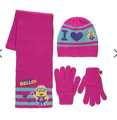2ce48b4dd200 Ensemble bonnet, écharpe et gants tricotés, motif Minions, Rose, pour  enfants 8