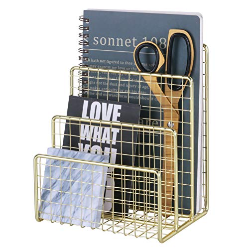 (West Beauty 3 Slots Letter Holder, Metal Multifunctional File Holder for Mails, Books, Brochures and Postcards, Desktop Office Organizer Decoration, Size 5.6