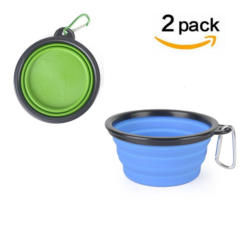 OAOPOLA 2 Piece Collapsible Dog Bowls, Silicone Portable Pop Up Pet Travel For Feed and Water Large Size, 5 Cups