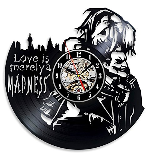 Joker Clock - Vinyl Evolution Harley Quinn Decal Love Joker Wall Clock - Decorate Your Home with Modern Large Suicide Squad Art - Best Gift for Him and Her - Win a Prize for Feedback