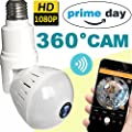 2018 Upgrade Bulb WiFi IP Camera Wireless Fisheye Spy Hidden Cameras 360 Panoramic for Home Security System Baby Nanny Pet Indoor with Night Vision Motion Detection Alarm-Smartphone Prime Deal