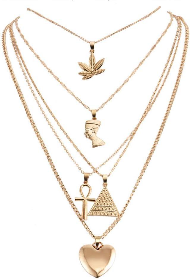 Weiy 4pcs Pendentif Multicouche Reine cha/îne /égyptienne Collier Tour de Cou Croix Feuilles d/érable Triangle Triangle Boho Collier de la clavicule