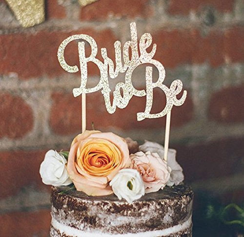 Astra Gourmet 1pc Bride to Be Silver Glitter Paper Cake Topper ()