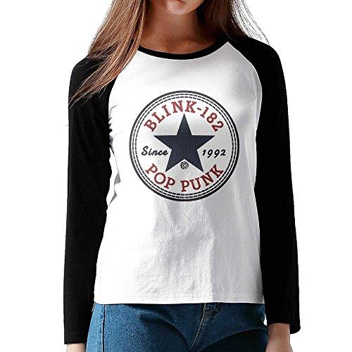 Loneki Women's Blink-182 Baseball Raglan T-Shirts (Robin Custome)