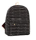 Demarkt Black and White Striped Canvas Backpack Schoolbag