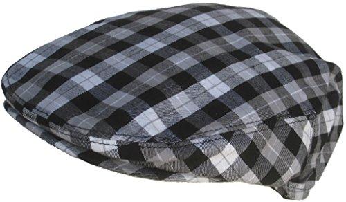 (Summer Plaid Ivy Scally Driver Cap 100% Cotton Flat Hat (Black & White/Medium))