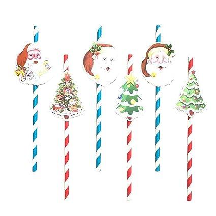 Albero Di Natale Con Cannucce Di Carta.Toyvian 6 Pezzi Di Natale Di Carta Cannucce Festa Di Natale Vacanza