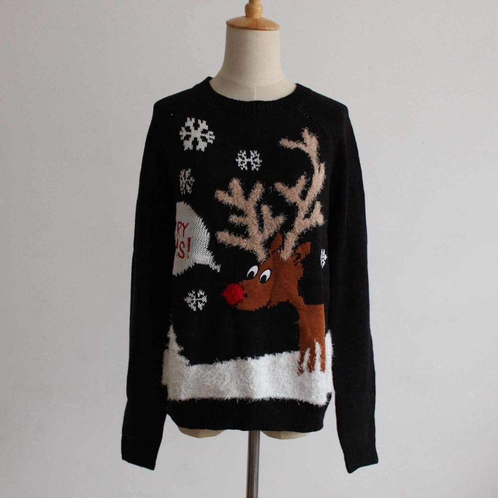 Christmas Women Deer Snowflake Embroidery Merry Xmas Knitted Pullover Jumper Top