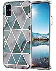 HMOON Marble Case for Galaxy A71, Glitter Rose Gold Sparkle Clear Bumper Soft TPU Silicone Rubber Cover Shockproof Anti-Scratch Case for Samsung Galaxy A71 - White Green