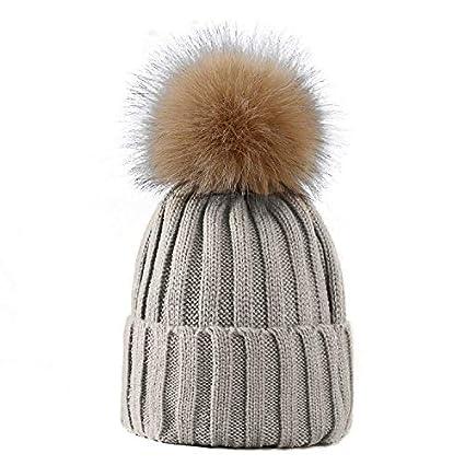 LIVERPOOL ENTERPRISES LTD LADIES POM POM HAT WOMEN WINTER CAP COSY BEANIE  WARM HAT FLUFFY POM POM (Grey)  Amazon.co.uk  Kitchen   Home b6dbee64120