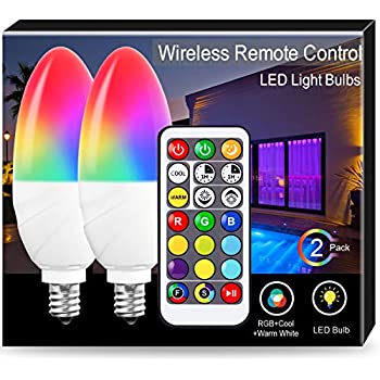 JandCase Candelabra Color Changing Light Bulb, RGBW Bulbs with Remote Control, 5W, 40W Equivalent, Dimmable, 350LM, 2700k-6500k, E12 Base, Ideal for Home ...