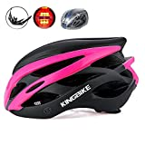 KING BIKE Cycle Helmet Womens Adults Bicycle Bike Cycling Helmets for Ladies Women with Safety Rear Led Light and Helmet Rain Cover Lightweight Black and Pink