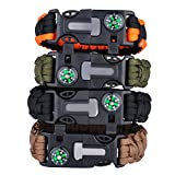 Rescue Survival Knife - Paracord Bracelet with embedded Fire Starter Compass Emergency Knife Emergency Whistle Rescue Rope for outdoor survival(Black&Orange)
