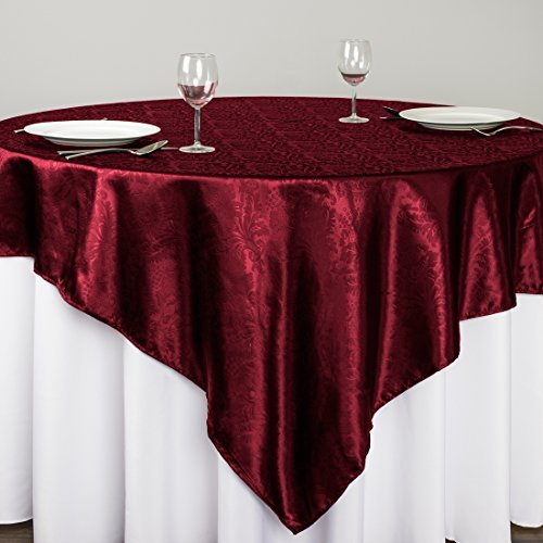 Satin Burgundy Overlay (LinenTablecloth Square Baroque Embossed Satin Overlay, 72-Inch, Burgundy)