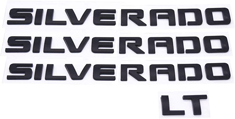 Include 3PC SILVERADO+1PC LT Chrome Silver GLAAPER 3D Raised Tailgate Insert Letters Rear Badge Emblems 3M Adhesive Nameplate Decals Replacement for Chevy Silverado LT 1500 2500HD 3500HD
