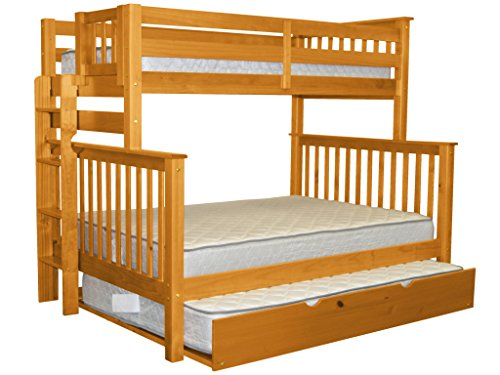 Bedz King Mission Style Bunk Bed Twin over Full with End Ladder and a Full Trundle, Honey - Bunk Bed Top Only
