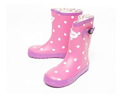 Amazon.com | Kids Girls Polka Dots Cute Rain Boots Toddler Youth ...