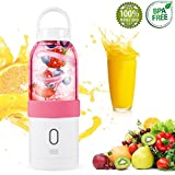 Blender for Shakes and Smoothies USB Rechargeable Portable Blender Gadgets for Women , Men , Children Smoothie Blender for Travelling Travel Blender 17oz (Pink)