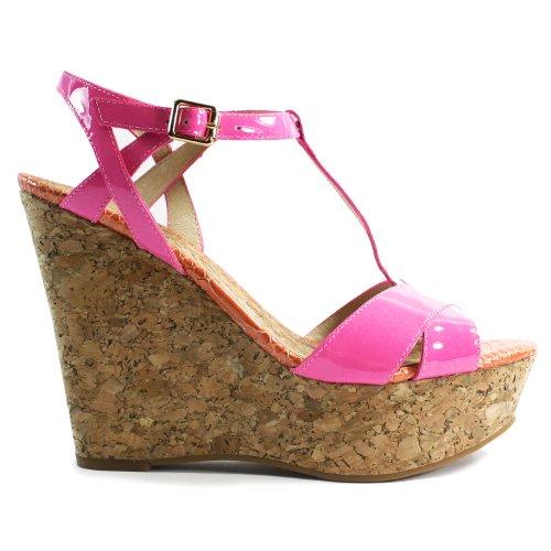 Couture Pink Juicy Leather (Juicy Couture Dakota Cork Wedge Heels - Pink - 9)