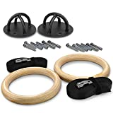 Yes4All Olympic Wooden Gymnastic Rings – Included Adjustable Straps & Buckles – Easy Setup & Support up to 660 lbs (Wooden - Combo Gym Rings and X-Mount Bracket)