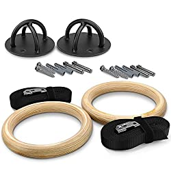 Yes4all Olympic Wooden Gymnastic Rings – Included Adjustable Straps & Buckles – Easy Setup & Support Up To 660 Lbs (Wooden - Combo Gym Rings & X-mount Bracket)