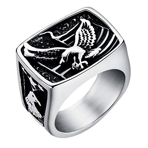 American Bald Eagle Ring for Men Silver Stainless Steel Signet Ring Hiphop Motorcycles Jewelry Bird Ring Size 10 ()