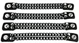 Double Black Chain Bikers Vest Extender for Mc Jacket Real Leather Snaps (8 Inch Long)