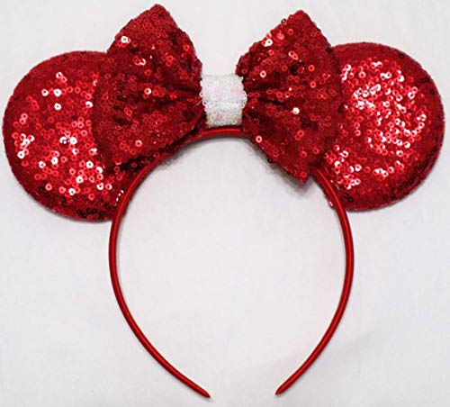 CLGIFT Valentine's Day Red Minnie Mouse Ears, Red Minnie Ears, Minnie Headband, Wedding Minnie Ears, Valentine's Day Inspired Ears