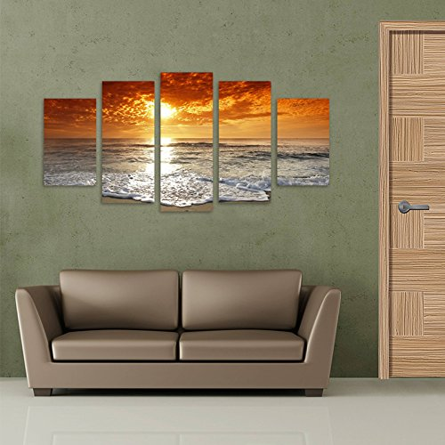 BIL-YOPIN Large 5 Panels Canvas Prints Stretched Canvas Printing Sea Beach Artwork Painting for Home Decor