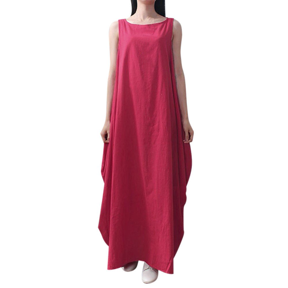 Sherostore ♡ Women Maxi Sleeveless Dress Plus Size Pockets Loose Swing Tank Tunic Dress White/Red