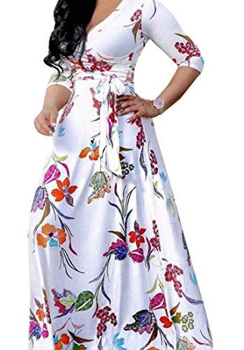 Back Wrap Gown (ainr Women's Boho Print Floral V Neck Wrap Party Gown Maxi Dress White XS)