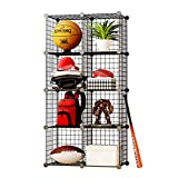 KOUSI Storage Cubes Wire Grid Modular Metal Cubbies Organizer Bookcases and Book Shelves Origami Multifunction Shelving Unit, Capacious Customizable (Black, 8 Cubes)