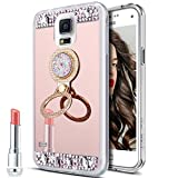 Galaxy Note 4 Case,Galaxy Note 4 Mirror Case, Slim Luxury Rhinestone Diamond Glitter Bling Mirror Back Soft TPU Bumper Protective Case with Ring Stand Holder for Galaxy Note 4,Rose Gold