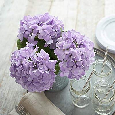 Artificial Hydrangea Silk Flowers For Wedding Bouquet Flower Arrangements 3 Stems Per Bundle Purple Amazon Sg Home