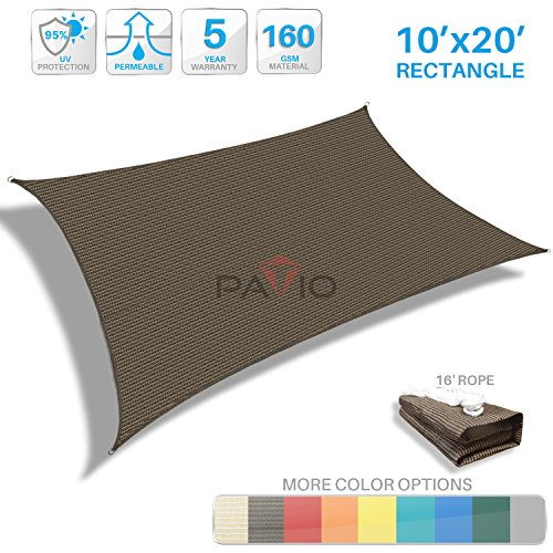 Patio Paradise 10'x20' Brown Sun Shade Sail Rectangle Canopy - Permeable UV Block Fabric Durable Patio Outdoor - Customized Available by Patio Paradise