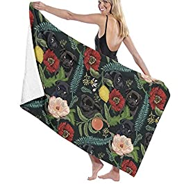 E Botanical And Black Pugs Microfiber Bath Towel Beach Towel Beach Blanket Quick Dry Towel for Travel Swim Pool Yoga Camping Gym